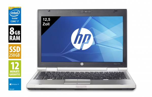 HP EliteBook 2570p - 12,5 Zoll - Core i7-3520M @ 2,9 GHz - 8GB RAM - 250GB SSD - DVD-RW - WXGA (1366x768) - Win10Home