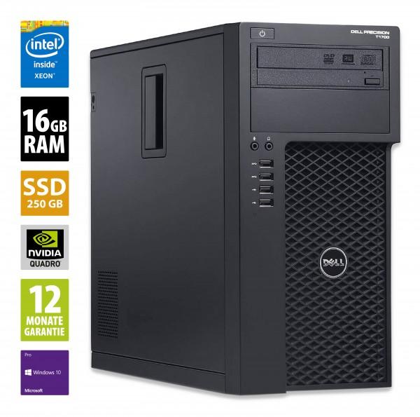 Dell Precision T1700 MT - Xeon E3-1241 v3 @ 3,5 GHz - 16GB RAM - 250GB SSD - DVD-ROM - Nvidia Quadro K2200 - Win10Pro