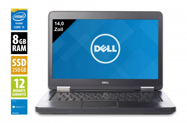 Dell Latitude E5440 - 14,0 Zoll - Core i5-4310U @ 2,0 GHz - 8GB RAM - 250GB SSD - DVD-RW - WXGA (1366x768) - Webcam - Win10Home