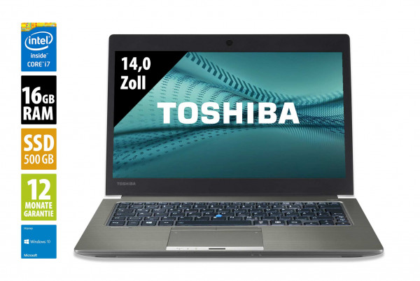 Toshiba Portégé Z30T-C-12-U - 13,3 Zoll - Core i7-6600U @ 2,6 GHz - 16GB RAM - 500GB SSD - FHD (1920x1080) - Webcam - Win10Home