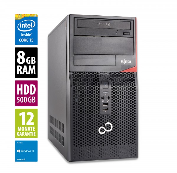 Fujitsu Esprimo P520 MT - Core i5-4590 @ 3,3 GHz - 8GB RAM - 500GB HDD - DVD-RW - Win10Home