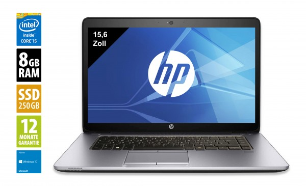 HP EliteBook 850 G1 - 15,6 Zoll - Core i5-4300U @ 1,9 GHz - 8GB RAM - 250GB SSD - FHD (1920x1080) - Webcam - Win10Home