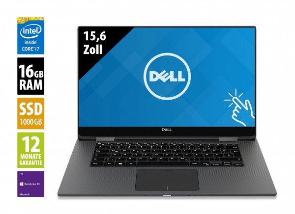 Dell XPS 15 2-in-1 (9575) - 15,6 Zoll - Core i7-8705G @ 3,1 GHz - 16GB RAM - 1000GB SSD - UHD (3820x2160) - Webcam - Touch - Win10Pro