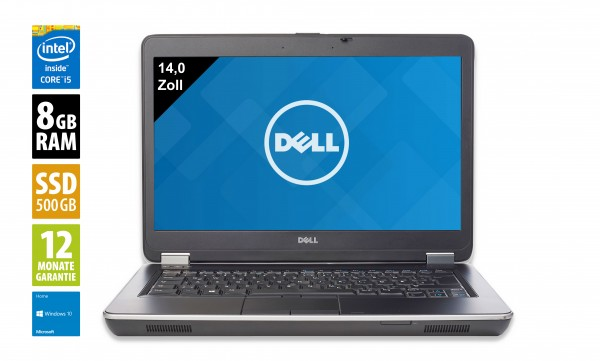 Dell Latitude E6440 - 14,0 Zoll - Core i5-4300M @ 2,6 GHz - 8GB RAM - 500GB SSD - DVD-RW - WSXGA (1600x900) - Webcam - Win10Home