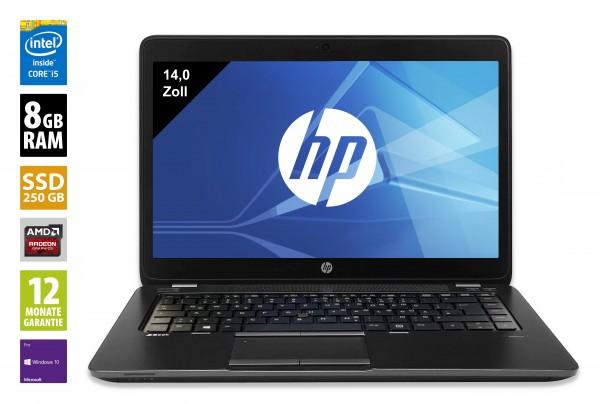 HP ZBook 14 - 14,0 Zoll - Core i5-5200U @ 2,2 GHz - 8GB RAM - 250GB SSD - WSXGA (1600x900) - Webcam - Radeon HD 8730M - Win10Pro