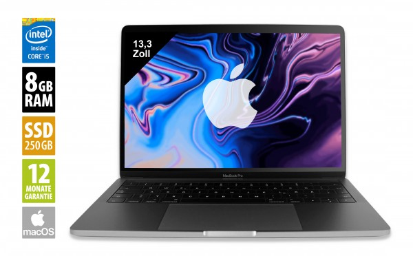 Apple MacBook Pro (2018) Space Gray - 13,3 Zoll - Core i5-8259U @ 2,3 GHz - 8GB RAM - 256GB SSD - WQXGA (2560x1600) - Touch Bar - Webcam - macOS