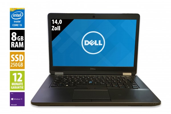 Dell Latitude E5470 - 14,0 Zoll - Core i5-6300U @ 2,4 GHz - 8GB RAM - 250GB SSD - FHD (1920x1080) - Webcam - Win10Pro