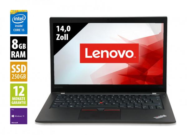 Lenovo ThinkPad T470s - 14,0 Zoll - Core i5-7300U @ 2,6 GHz - 8GB RAM - 250GB SSD - FHD (1920x1080) - Webcam - Win10Pro