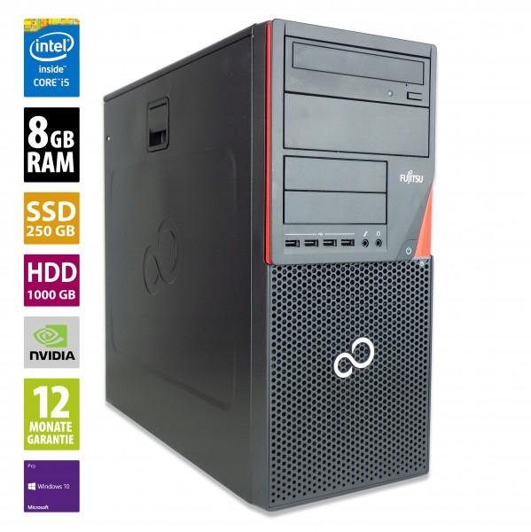 Gaming PC - Fujitsu Esprimo P920 MT - Core i5-4570 @ 3,2 GHz - 8GB RAM - 250GB SSD - 1000GB HDD - DVD-RW - Nvidia GTX 1050 - Win10Pro
