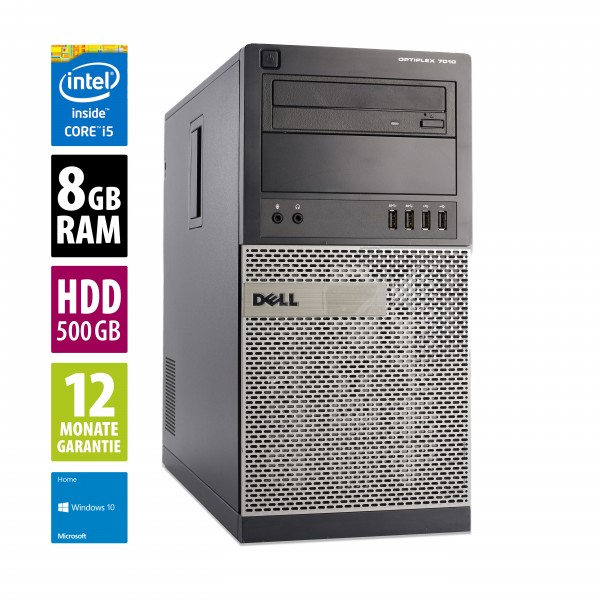 Dell OptiPlex 7010 MT - Core i5-3570 @ 3,4 GHz - 8GB RAM - 500GB HDD - DVD-ROM - Win10Home