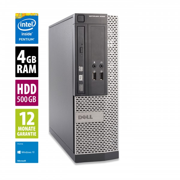 Dell OptiPlex 3020 SFF - Pentium G3220 @ 3,0 GHz- 4GB RAM - 500GB HDD - DVD-RW - Win10Home