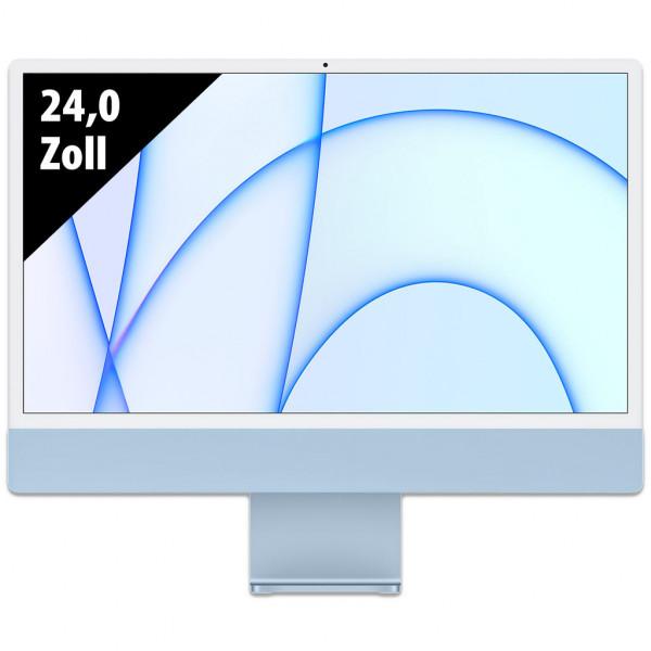 Apple iMac (2021) - Apple M1 - 8GB RAM - 256GB SSD - 24,0 Zoll - 4.5K Retina Display (4480x2520) - Webcam - macOS Big Sur - blau
