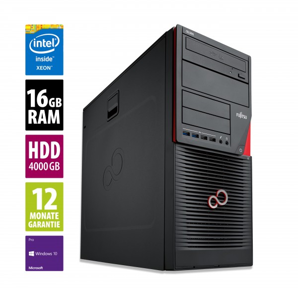 Fujitsu Celsius W550 Power - L - Xeon E3-1225 v5 @ 3,3 GHz - 16GB RAM - 2x 2000GB HDD - DVD-RW - Win10Pro - neuwertig