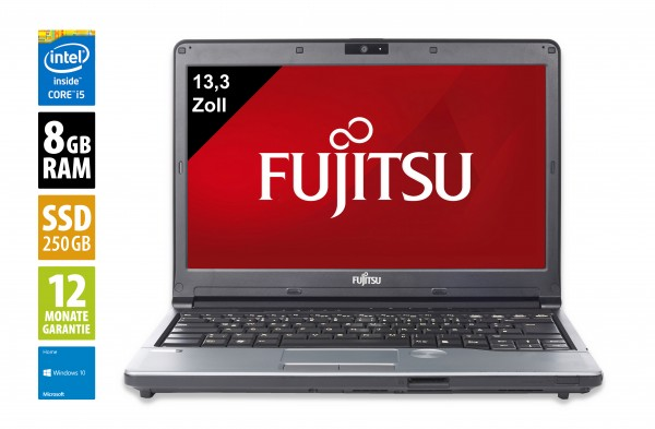 Fujitsu LifeBook S762 - 13,3 Zoll - Core i5-3320M @ 2,6 GHz - 8GB RAM - 250GB SSD - DVD-RW - WXGA (1366x768) - Webcam - Win10Home