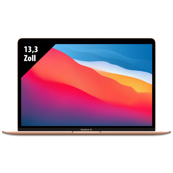 Apple MacBook Air (2020) Gold - 13,3 Zoll - M1 @ 3,2 GHz - 8GB RAM - 256GB SSD - WQXGA (2560x1600) - Webcam - macOS