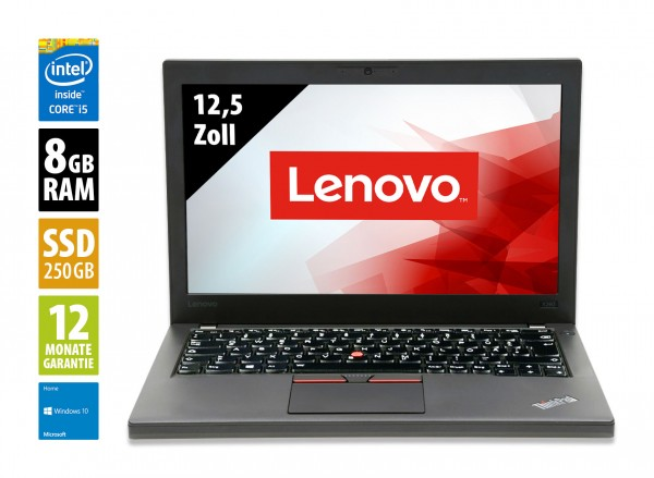 Lenovo ThinkPad X260 - 12,5 Zoll - Core i5-6300U @ 2,4 GHz - 8GB RAM - 250GB SSD - WXGA (1366x768) - Webcam - Win10Home