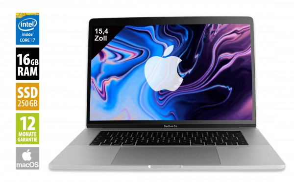 Apple MacBook Pro (2018) silver - 15,4 Zoll - Core i7-8750H @ 2,2 GHz - 16GB RAM - 256GB SSD - Radeon Pro 555x - (2880x1800) - Touch Bar - Webcam - macOS