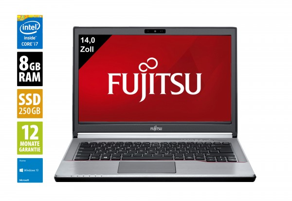 Fujitsu LifeBook E744 - 14,0 Zoll - Core i7-4610M @ 3,0 GHz - 8GB RAM - 250GB SSD - DVD-RW - WSXGA (1600x900) - Webcam - Win10Home