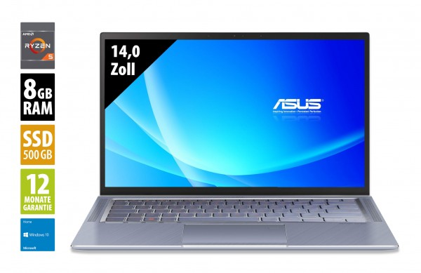 Asus ZenBook 14 UM431DA - 14,0 Zoll - AMD Ryzen5 3500U @ 2,1 GHz - 8GB RAM - 500GB SSD - FHD (1920x1080) - Webcam - Win10Home