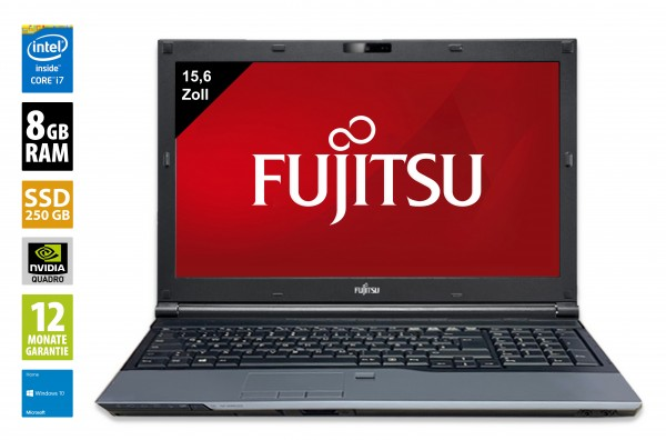 Fujitsu Celsius H720 - 15,6 Zoll - Core i7-3720QM @ 2,6 GHz - 8GB RAM - 250GB SSD - DVD-RW -  FHD (1920x1080) - Webcam - Nvidia Quadro K1000M - Win10Home