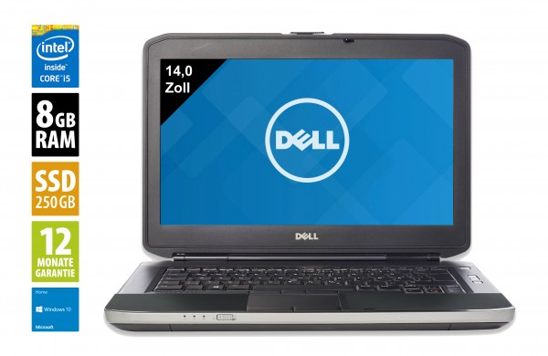 Dell Latitude E5430 - 14,0 Zoll - Core i5-3210M @ 2,5 GHz - 8GB RAM - 250GB SSD - DVD-RW - WXGA (1366x768) - Webcam - Win10Home