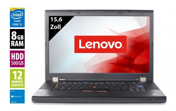 Lenovo ThinkPad T520 - 15,6 Zoll - Core i5-2520M @ 2,5 GHz - 8GB RAM - 500GB HDD - DVD-RW - WXGA (1366x768) - Webcam - Win10Home