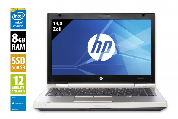 HP EliteBook 8470p - 14,0 Zoll - Core i5-3340M @ 2,7 GHz - 8GB RAM - 500GB SSD - DVD-RW - WSXGA (1600x900) - Webcam - Win10Home