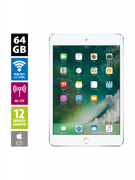 Apple iPad mini 4 Wi-Fi + Cellular (64GB) - silver