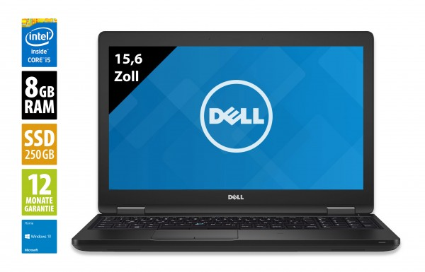 Dell Latitude 5580 - 15,6 Zoll - Core i5-6200U @ 2,3 GHz - 8GB RAM - 250GB SSD - FHD (1920x1080) - Webcam - Win10Home