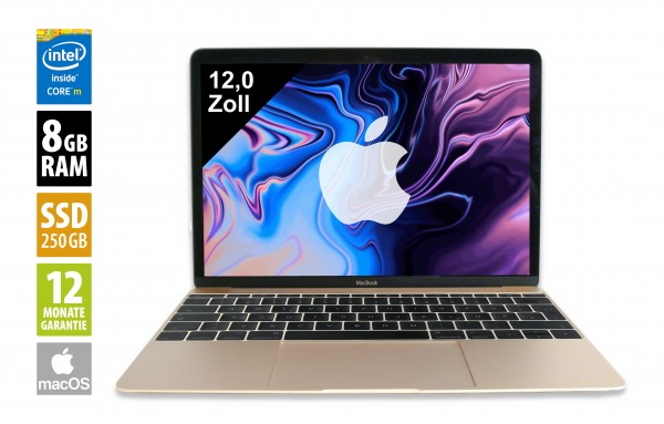 Apple MacBook (2017) gold - 12,0 Zoll - Core M3-7Y32 @ 1,2 GHz - 8GB RAM - 250GB SSD - (2304x1440) - Webcam - macOS