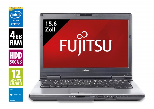 Fujitsu Lifebook S752 - 14,0 Zoll - Core i5-3320M @ 2,6 GHz - 4GB RAM - 500GB HDD - DVD-RW - WXGA (1366x768) - Win10Home