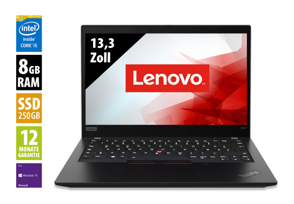 Lenovo ThinkPad X390 - 13,3 Zoll - Core i5-8265U @ 1,6 GHz - 8GB RAM - 250GB SSD - FHD (1920x1080) - Webcam - Win10Pro