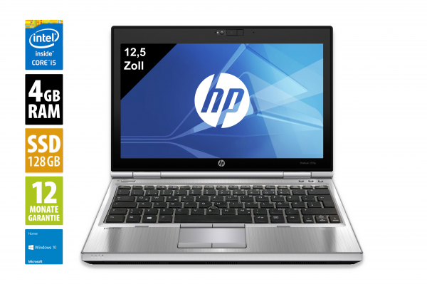 HP EliteBook 2570p - 12,5 Zoll - Core i5-3340M @ 2,7 GHz - 4GB RAM - 120GB SSD - DVD-RW - WXGA (1366x768) - Webcam - Win10Home