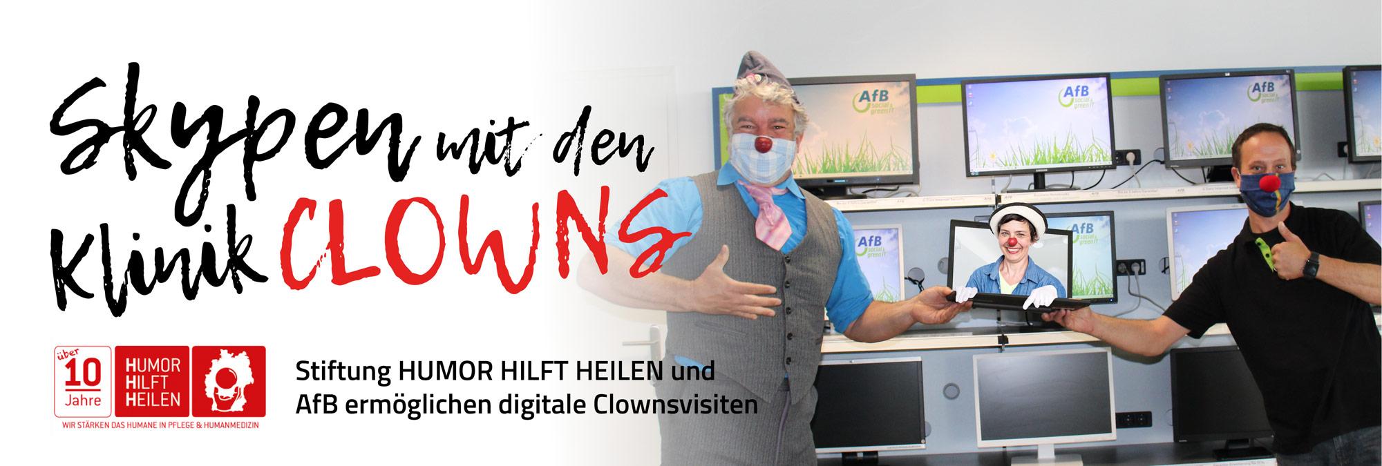 Stiftung HUMOR HILFT HEILEN und AfB ermöglichen digitale Clownsvisiten. Übergabe im Ettlinger AfB Shop.