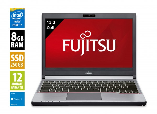 Fujitsu LifeBook E733 - 13,3 Zoll - Core i7-3540M @ 3,0 GHz - 8GB RAM - 250GB SSD - DVD-RW - WXGA (1366x768) - Webcam - Win10Home
