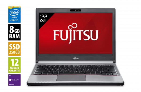 Fujitsu LifeBook E736 - 13,3 Zoll - Core i5-6300U @ 2,4 GHz - 8GB RAM - 250GB SSD - WXGA (1366x768) - Webcam - Win10Pro