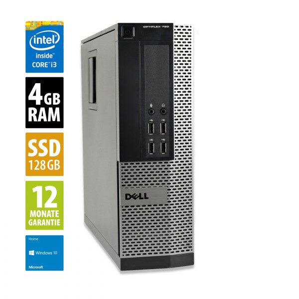Dell OptiPlex 790 SFF - Core i3-2120 @ 3,3 GHz - 4GB RAM - 128GB SSD - DVD-RW - Win10Home