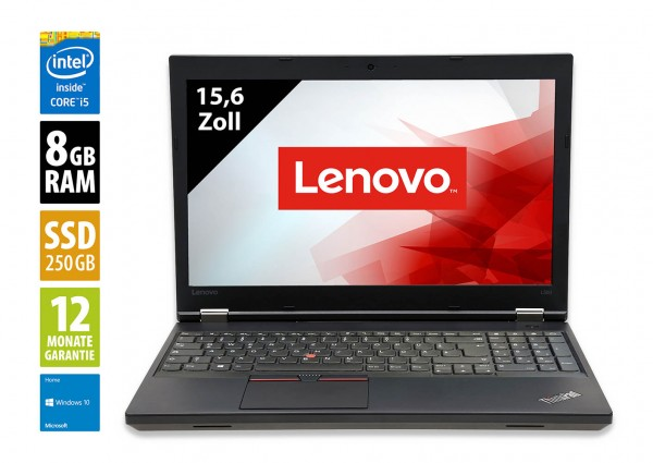 Lenovo ThinkPad L560 - 15,6 Zoll - Core i5-6300U @ 2,4 GHz - 8GB RAM - 250GB SSD - WXGA (1366x768) - Webcam - Win10Home