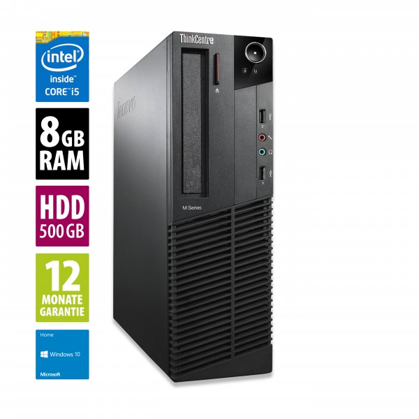 Lenovo ThinkCentre M92p SFF - Core i5-3470 @ 3,2 GHz - 8GB RAM - 500GB HDD - DVD-RW - Win10Home