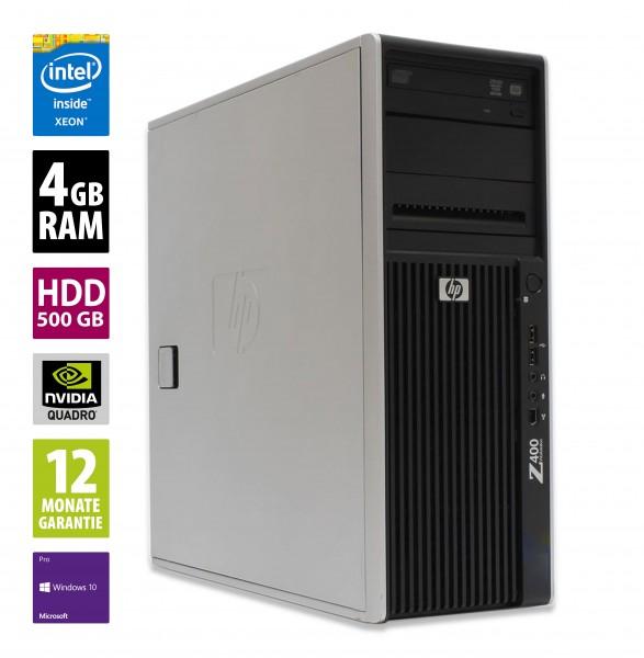 HP Workstation Z400 MT - Xeon W3520 @ 2,67 GHz - 4GB RAM - 500GB HDD - DVD-ROM - Nvidia Quadro 600 - Win10Pro