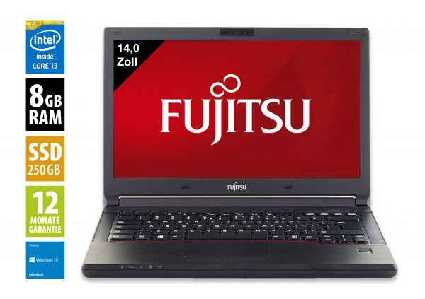 Fujitsu LifeBook E547 - 14,0 Zoll - Core i3-7100U @ 2,4 GHz - 8GB RAM - 250GB SSD - DVD-RW - WXGA (1366x768) - Webcam - Win10Home
