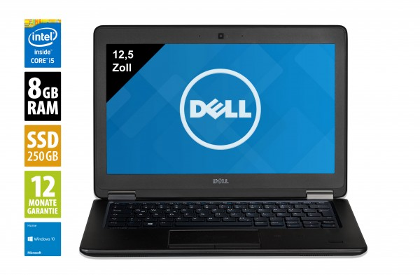 Dell Latitude E7250 - 12,5 Zoll - Core i5-5300U @ 2,3 GHz - 8GB RAM - 250GB SSD - WXGA (1366x768) - Webcam - Win10Home