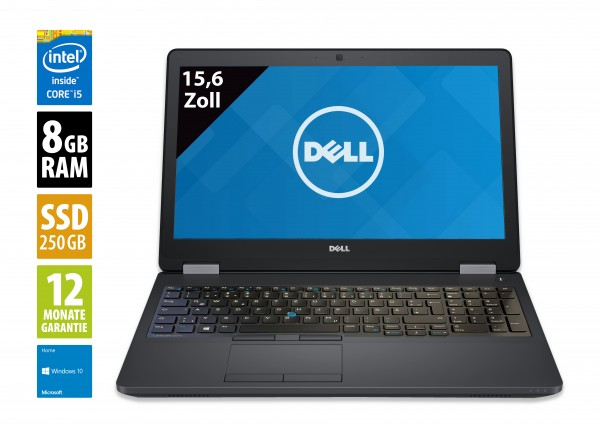 Dell Latitude E5570 - 15,6 Zoll - Core i5-6300U @ 2,4 GHz - 8GB RAM - 250GB SSD - FHD (1920x1080) - Webcam - Win10Home