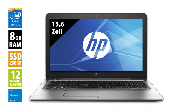 HP EliteBook 850 G3 - 15,6 Zoll - Core i5-6300U @ 2,4 GHz - 8GB RAM - 250GB SSD - FHD (1920x1080) - Webcam - Win10Home