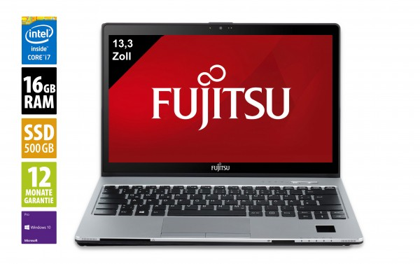 Fujitsu LifeBook S937 - 13,3 Zoll - Core i7-7600U @ 2,8 GHz - 16GB RAM - 500GB SSD - DVD-RW - WQHD (2560x1440) - Touch - Webcam - Win10Pro