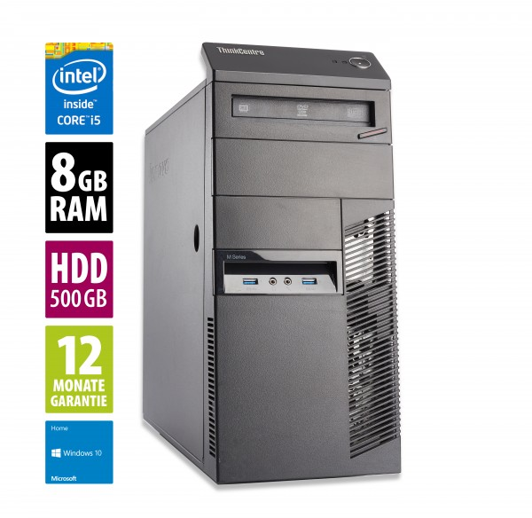 Lenovo ThinkCentre M93p MT - Core i5-4570 @ 3,2 GHz - 8GB RAM - 500GB HDD - DVD-RW - Win10Home