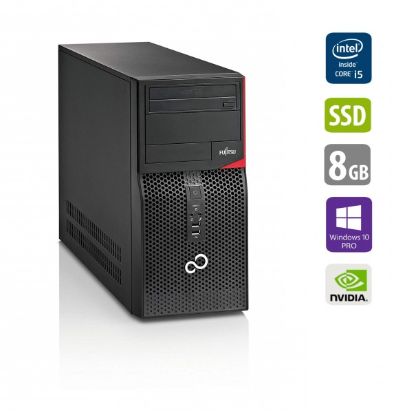 Gaming PC - Fujitsu Esprimo P420 E85+ MT - Core i5-4460 @ 3,2 GHz - 8GB RAM - 500GB HDD - 250GB SSD - DVD-RW - Nvidia GTX1050 - Win10Pro