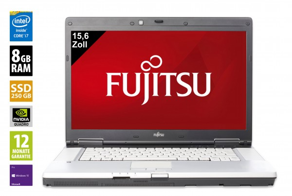 Fujitsu Celsius H710 - 15,6 Zoll - Core i7-2720QM @ 2,2 GHz - 8GB RAM - 250GB SSD - DVD-RW - Nvidia Quadro 1000M - FHD (1920x1080) - Webcam - Win10Pro