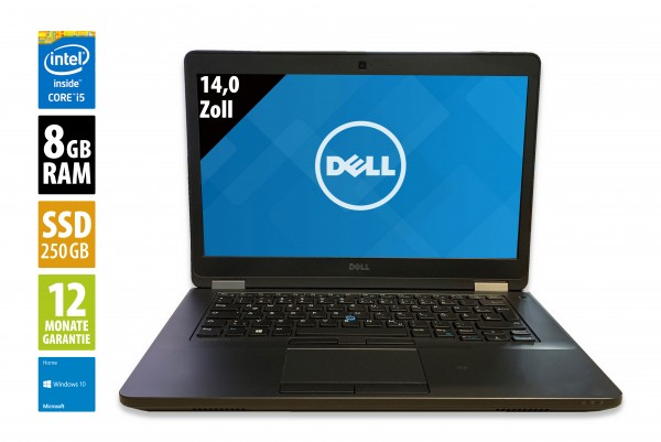 Dell Latitude E5470 - 14,0 Zoll - Core i5-6300U @ 2,4 GHz - 8GB RAM - 250GB SSD - WXGA (1366x768) - Webcam - Win10Home
