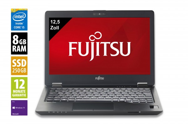 Fujitsu LifeBook U727 - 12,5 Zoll - Core i5-7300U @ 2,6 GHz - 8GB RAM - 250GB SSD - FHD (1920x1080) - Webcam - Win10Pro